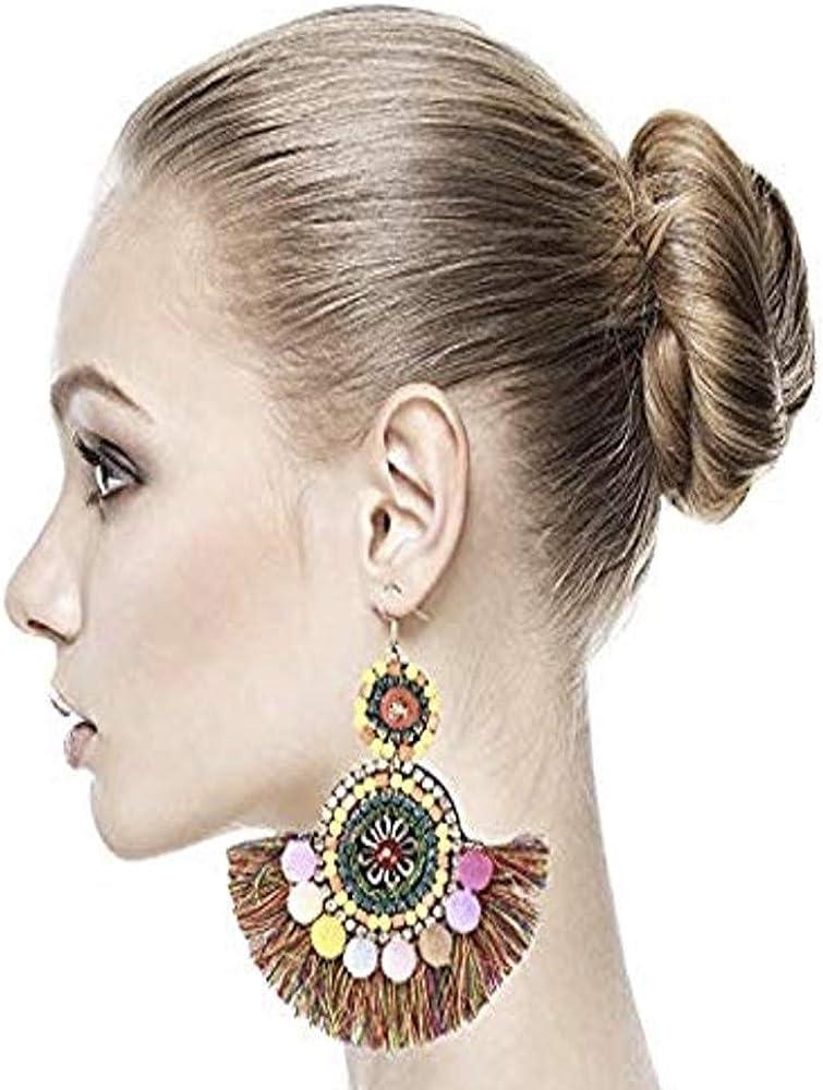 Tassel trend rank Women Boho Earrings Hair Rice Beads Resin Ball F Luxury goods