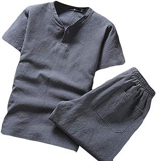 Mens Short Sleeve Soft Short Sleeve Blouse T-Shirt Top Short Pants Set Summer 2 Piece Outfits