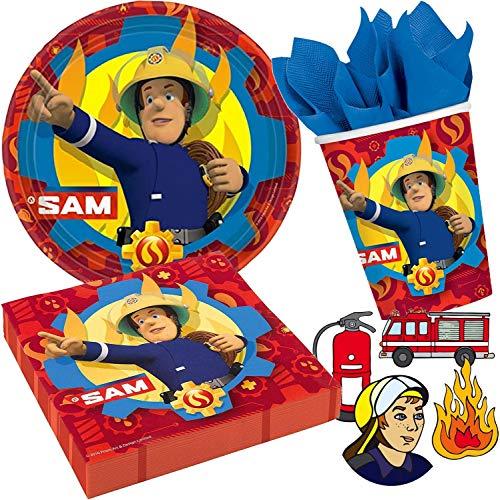 Amscan/Dekospass Sam le pompier Kit de fête d'anniversaire 37 pièces comprenant 8 assiettes en carton, 20 serviettes, 8 gobelets en carton et confettis XXL