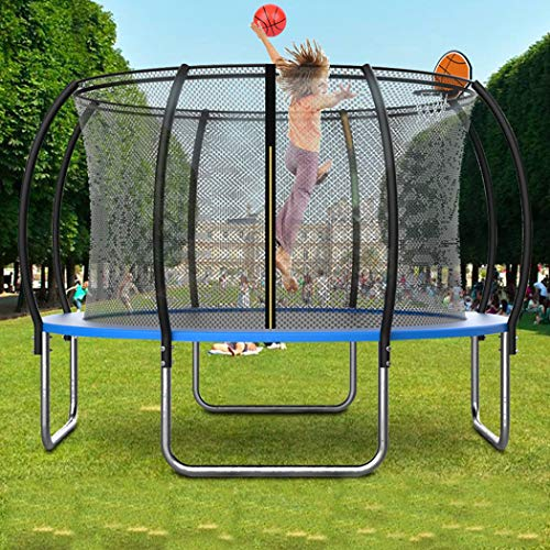 KOQIO Fitness Trampoline with Basketball Hoop, 6FT-16FT Garden Bouncer with Safety Enclosure Net for Play And Exercise Jumping Trampoline for Kids And Adult,10FT