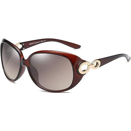 DUCO サングラス レディース 偏光レンズ sunglasses women 紫外線 UV400カット 運転用 おしゃれ 小顔 メガネケース付 1220