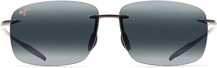 Occhiali da sole maui jim breakwall rimless sunglasses in gloss black polarised 422-02 63 breakwall B07BX4J99H