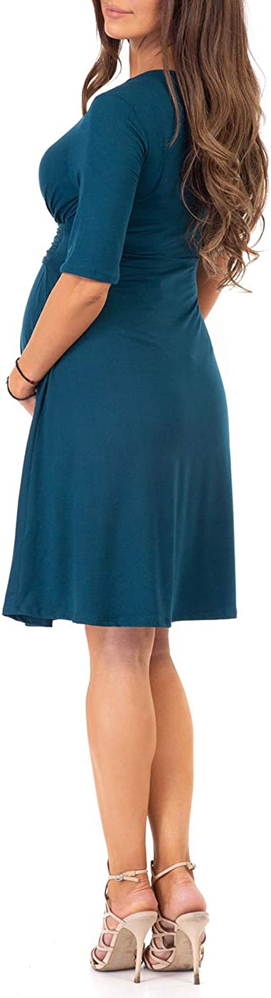 Mother Bee Maternity Women's Knee Length Wrap Dress with Belt for Baby Shower or Casual Wear