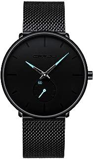 Men Watches WEUIE Men's Fashion Minimalist Wrist Watch Analog with Black Milanese Mesh Band