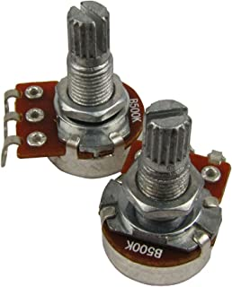 Musiclily Guitar Mini Size Pots B500K Split Knurled Long Split 18mm Shaft Linear Taper Potentiometers for Stratocaster and Telecaster Guitar Bass Parts(Pack of 2)