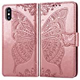ZTOFERA Flip Hülle für iPhone XR, Schmetterlings-Prägemuster Brieftasche mit [Magnetverschluss] [Kartenfächer] [Ständer] [Handschlaufe], Slim Cover für iPhone XR - Roségold
