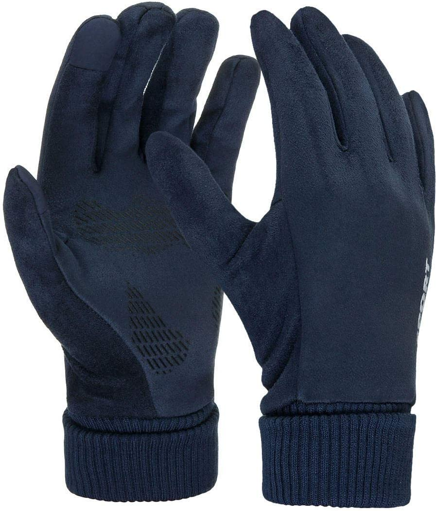 Lupovin-Keep Warm Men Women Winter Strong Touch Screen Gloves Thermal Windproof Raincoat Mitten Non-Slip (Color : Blue)