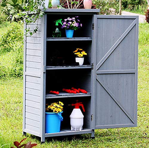 HOBIRD Wooden Garden Cabinet with Slat Door made of Fir Wood & Bitumen Roof for Storage, Gray