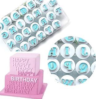 Cortador de galletas de alfabeto de plástico, 26 piezas, letras superiores y minúsculas,