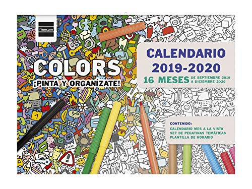 Calendario de pared 16 meses 2019-2020 español Colors Finocam
