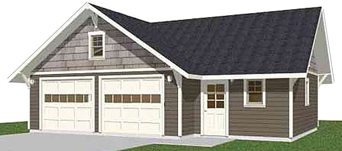 Garage Plans: Craftsman Style Washington Mall Two Car Gifts - Plan 81 Shop With