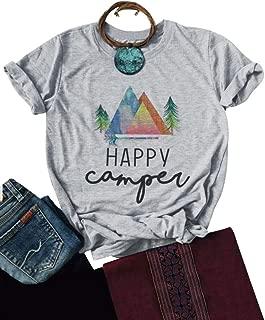Women Casual Happy Camper Shirts Short Sleeve Happy Camper T Shirt Tops