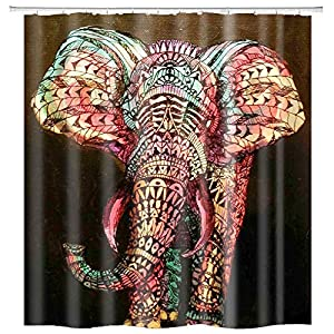 hipaopao African Wildlife Animal Elephant Fabric Shower Curtain Sets Bathroom Decor with Hooks Waterproof Washable 72 x 72 inches Black Red Yellow