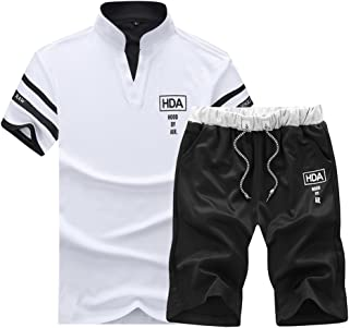 Mens 2 Pieces Polo Shirt and Shorts Standing Collar Short Sleeve Tracksuit Joggers Sport T Shirt Sets