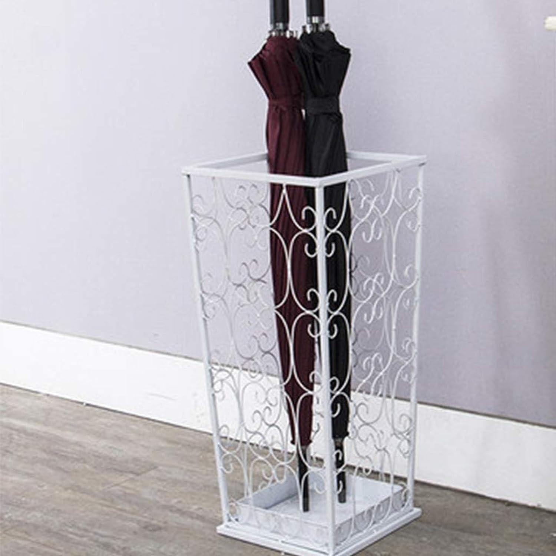 TYUIO Freestanding Metal Long Umbrella Stand Rack with Cutout Design, White Black (color   White)