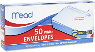 Mead #10 Envelopes, Press-It Seal-It, White, 50/Box (75024) (3, 1 Pack)