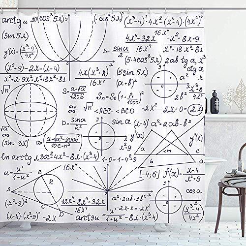 abby-shop Moderner Duschvorhang, School Genius Smart Student Mathematik Geometrie Wissenschaft Zahlen Formeln Bildkunst, Dunkelviolett