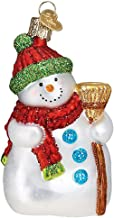 """Old World Christmas Glass Blown Ornament - Snowman with Broom 4¼"""""""