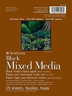"Strathmore 400 Series Black Mixed Media Pad, 6"" x 8"", 15 Sheets"