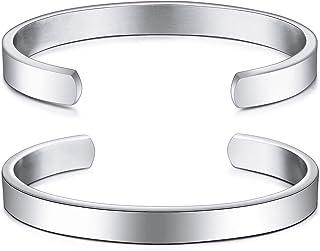 MeMeDIY Personalized Bracelet Engraving Name Identification ID Customized for Men Women Girls Water Resistant Stainless St...