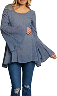 GAOXINGQU Women's Casual Bell Sleeve Solid Color O-Neck Pleated T-Shirt (Color : Blue, Size : 4XL)