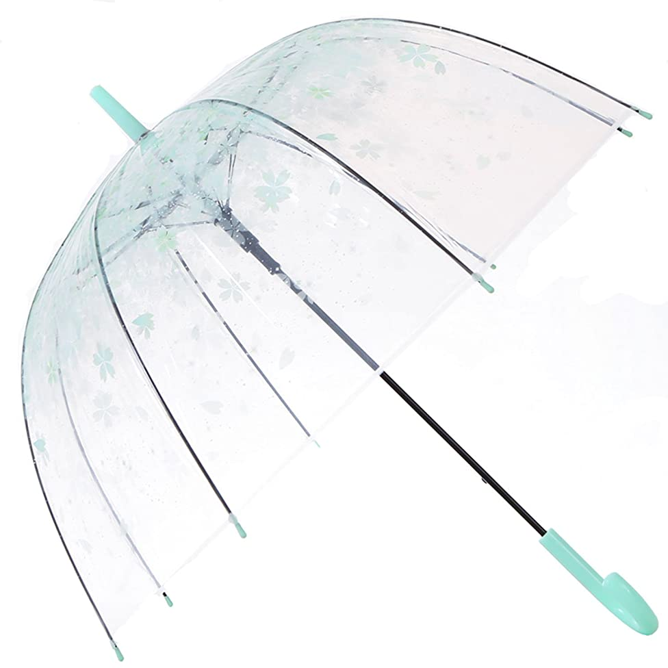 HAOCOO Cherry Blossoms Clear Umbrella,Bubble Transparent Fashion Dome Auto Open Umbrella Windproof for Outdoor Weddings (Green)