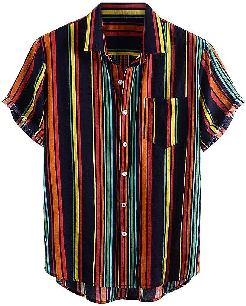 ZSBAYU Funky Hawaiian Shirt | Men Shirts | Adjustable Short-Sleeve | Front-Pocket | Multiple Colours | Striped Print