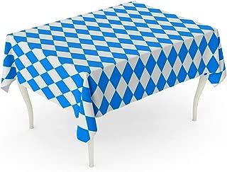 Tarolo Rectangle Tablecloth 60 x 102 Inch Pattern Oktoberfest Blue and White Rhombus German Harlequin Bavarian Flag Checkered Table Cloth