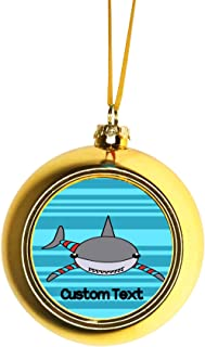 Rosie Parker Inc. Personalized Shark Ornament - Xmas - Christmas Ornaments Personalized Christmas Ornaments with Initials Gold Ball Ornaments Tree Decoration