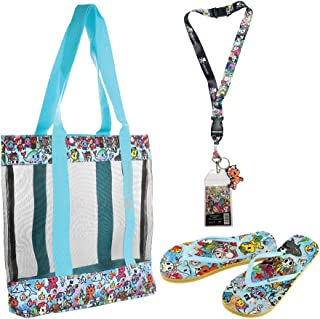 Tokidoki Mesh Tote Bag, Flip Flops, and Marea Lanyard (Sea Punk Pattern Bag and Flip Flops)