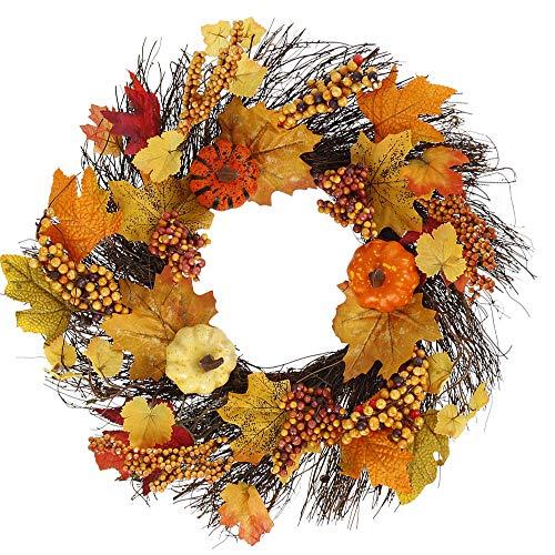 You's Auto Herbst-Dekorationen, Herbst-Kranz, 45 cm, Girlande, Rattan, künstlicher Türkranz für Halloween, Heimdekoration, Ornamente, Weihnachten, Thanksgiving, Hängedekoration (Stil C)