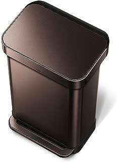 simplehuman 45 Liter / 12 Gallon Stainless Steel Rectangular Kitchen Step Trash Can with Liner Pocket, Dark Bronze Stainless Steel
