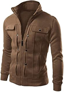 EnergyWD Mens Button-up Stand Collar Solid Pocketed Long Sleeve Fashion Jacket Coats