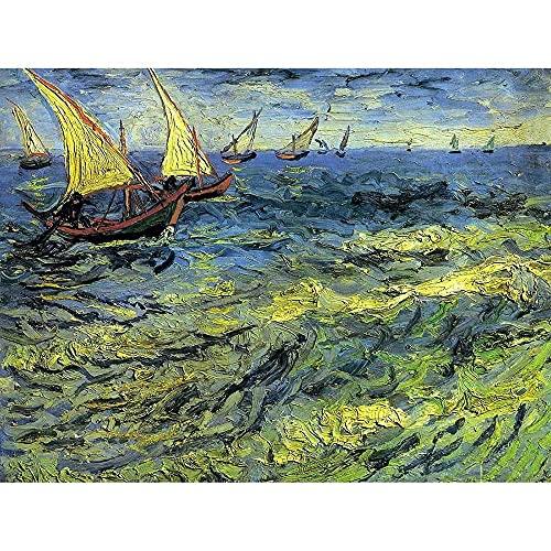 Xpboao Pintar por Números - Barco de Pesca de Van Gogh en el mar - Niños DIY Pintura óleo Pintura Niños Kit Manualidades - Pintar por Números Principiantes - 40X30 - Sin Marco