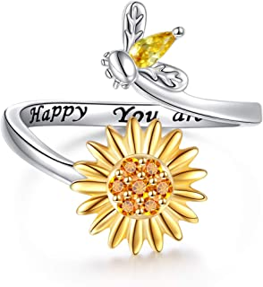 Sterling Silver Sunflower with Bee Engraved Bee Happy You are My Sunshine Ring