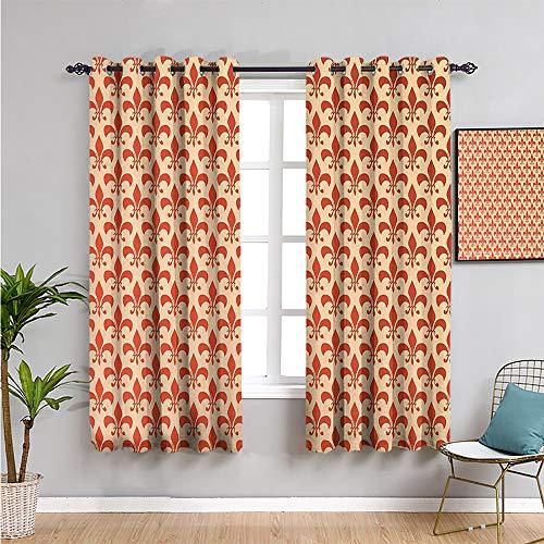 Pcglvie Fleur de lis Decor Collection Cortina oscurecida, cortinas de 182,88 cm de largo para mantener un buen sueño, naranja marfil 182,88 cm de ancho x 182,88 cm de largo