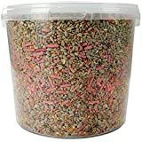 SQUAWK Premium Wild Bird Food   No Mess Garden Birds Feed Mix   Contains Berry Suet Pellets and Sunflower Hearts and Kibbled Peanuts   Enhanced Seed Mixture   High Energy Balanced Recipe (1L Tub)