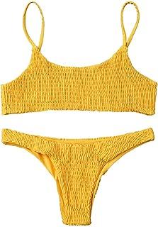 ZAFUL Women's Spaghetti Strap Shirred Smocked Two Piece Bikini Set Swimsuit