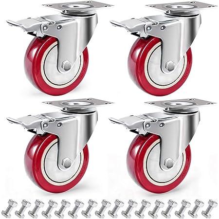 Load 700kg,2 Swivel Casters+2 Brake Casters,8in(200m Polyurethane Swivel Castors-with Brakes Heavy Duty Transport Casters Office Chair Caster Wheels FANYF X4 Industrial Castor Wheel /Φ4 // 5//6 // 8in