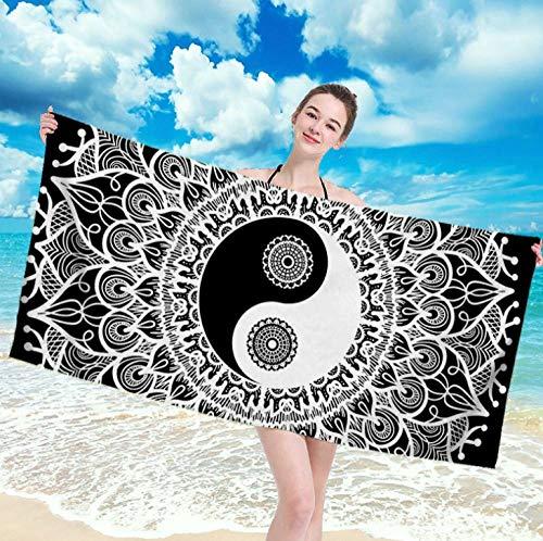 Toallas de Playa 3D Toalla de Playa de Microfibra 80 x 160 cm Supersuave Toalla Deportiva Secado Rápido Absorbente para Deportes, Viajes, Camping Esterilla de Yoga Patrón de Yin Yang