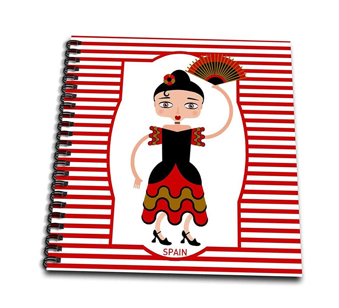3dRose db_160621_1 Spain is Represented by a Flamenco Dancer, Flamenco is Spanish Popular Folk Music-Drawing Book, 8 by 8-Inch