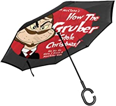 Die Hard Dr Seuss Gruber Grinch Double Layer Inverted Umbrella For Car Reverse Folding Upside Down C-Shaped Hands - Lightweight & Windproof – Ideal Gift