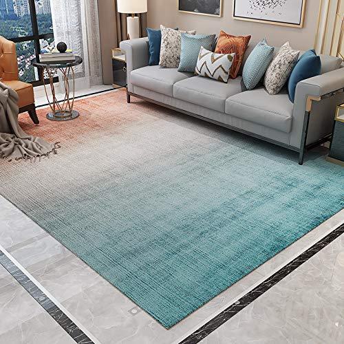 GBFR - Alfombra de piel de oveja (tamaño grande), diseño de degradado rojo y azul, vintage, mostaza, mullida, dormitorio, estudio, exterior, comedor, baño, balcón