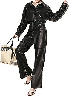 YezefennhfWCK بناطيل للنساء، سراويل نسائية عصرية من جلد البولي يوريثين أسود بأرجل واسعة، سراويل نسائية مناسبة للشوارع (الم...