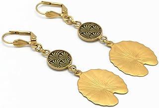 Orecchini LOTUS oro 24K regali di Natale amici compleanno gioielli cerimonia di matrimonio matrimonio damigella d'onore os...