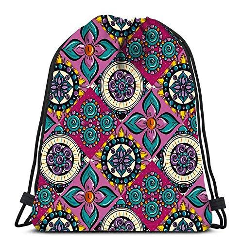 Unisex Drawstring Bags,Color Mandala Design Men & Women Drawstring Backpack Sport Gym Bag Foldable Tote Sack Cinch Bag For Swimming School Running