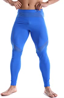 Men's Sports Tight Pants Nylon Base Layer Leggings with Mesh Panels