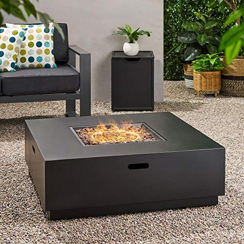 Jee Design- Firepits for Outside Propane-Fire Pit Tables for Outside Patio-Dark Grey 40' Square Firepit with Lava Rocks-The Centerpiece of Your Outdoor Entertainment Space