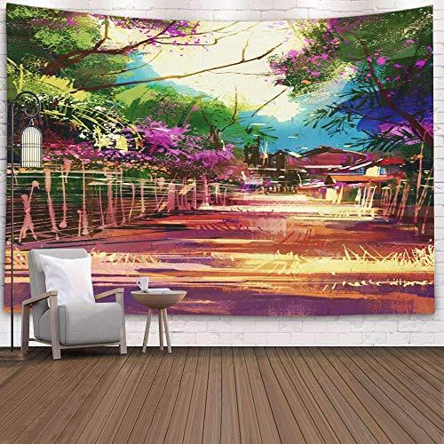 Tapiz para colgar en la pared, tapiz de dormitorio, decoración de la habitación, pintura de paisaje al aire libre, que muestra caminos, tapiz de arte de pueblo rural, manta de playa, tapiz de camping,