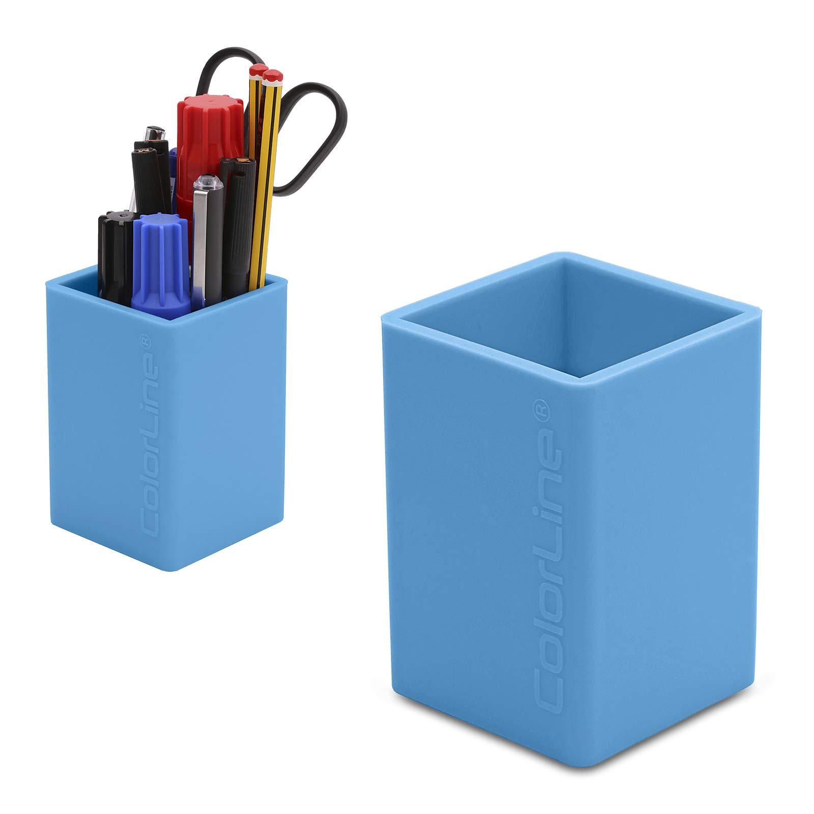 PracticOffice - Cubilete Porta Lápices de Silicona Ultra Soft. Flexible y Resistente. Color Azul Claro: Amazon.es: Oficina y papelería